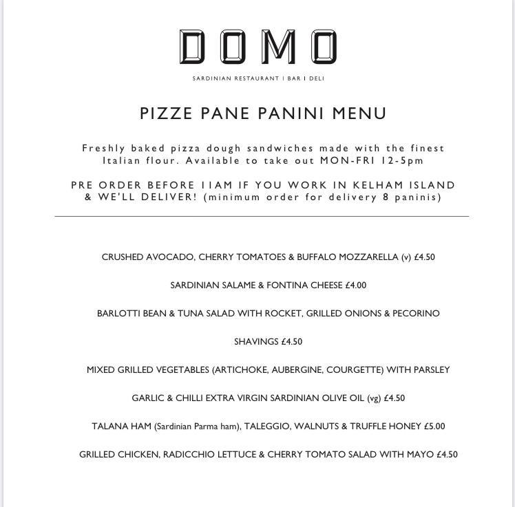 Pizza panini at Domo Restaurant
