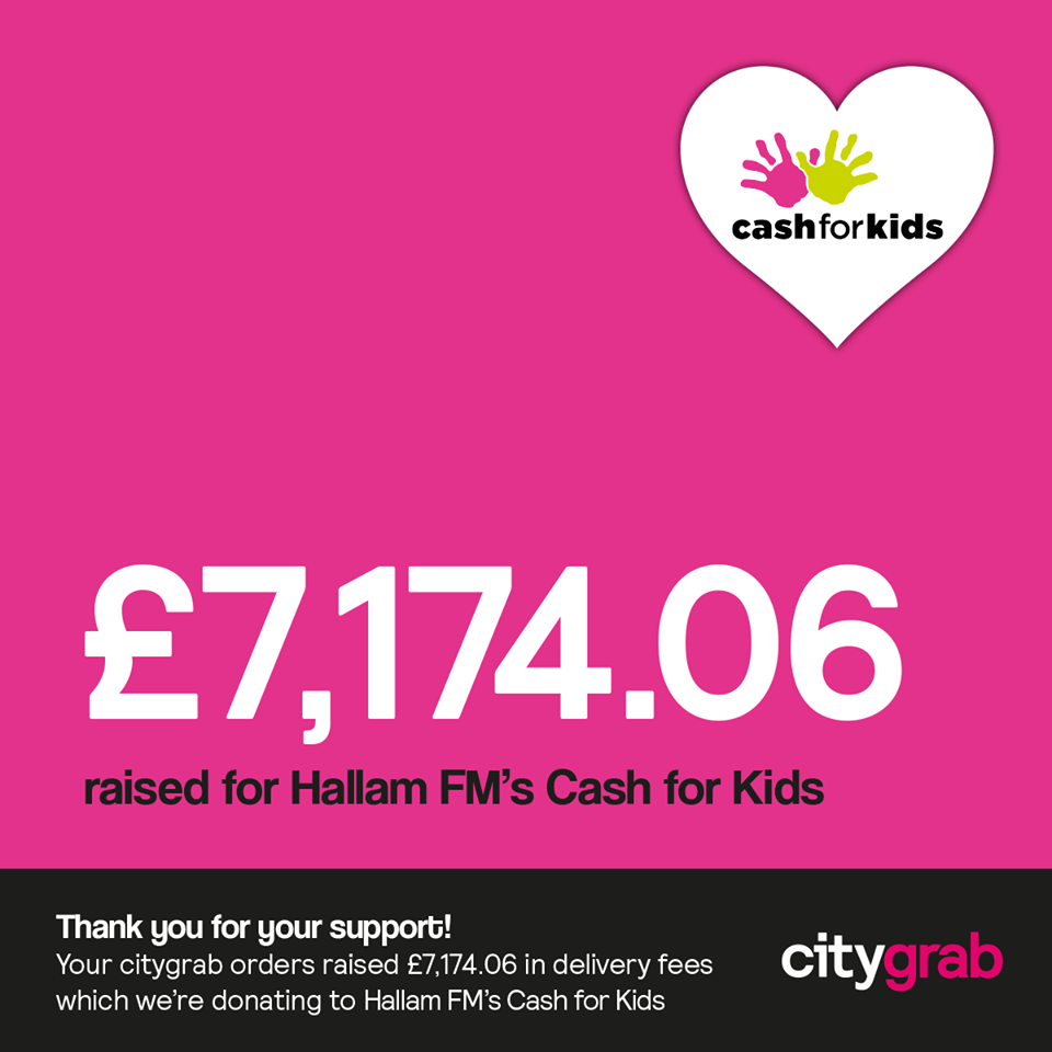 CityGrab donate over ?7k to Cash For Kids