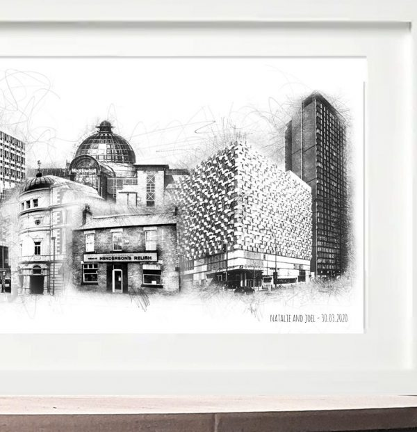 Amyliz designs long sheffield skyline print - close up
