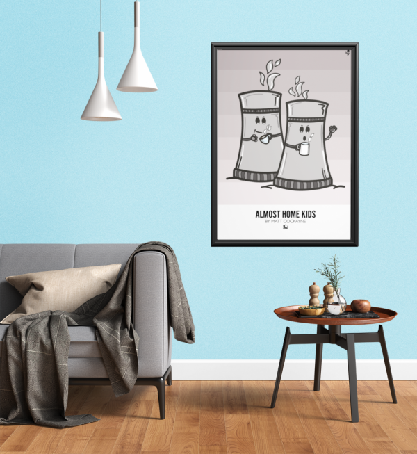 art print mockup featuring a small modern table and a gray fabric couch 3933 el1 4
