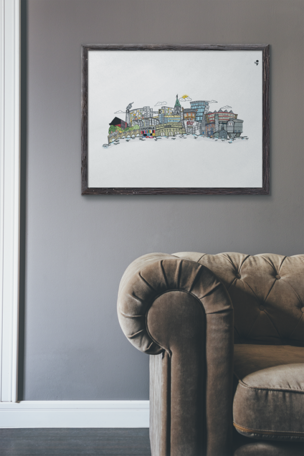 mockup of an art print placed in a living room 4882 el1