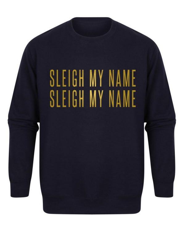 sweater sleighmyname navy gold scaled