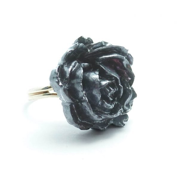 Graphite Rose Ring Silver Band