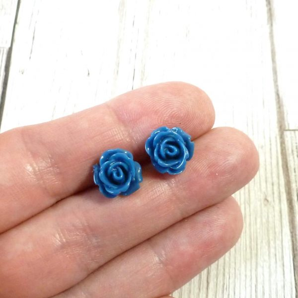 Blue Rose Studs on Hand